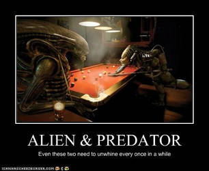 Alien and Predator in a bar by EvilWarChief666