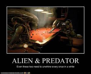 Alien and Predator in a bar