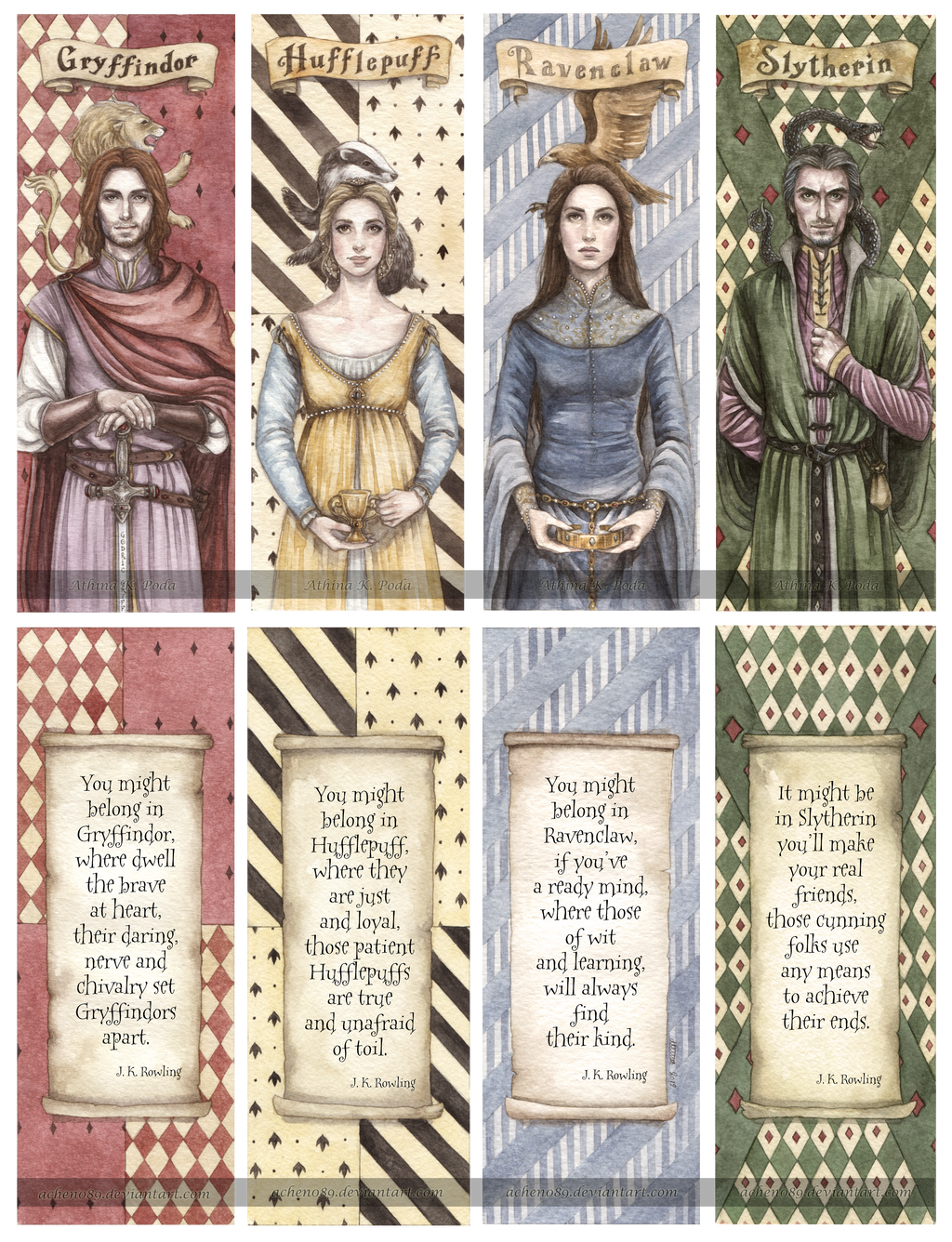 Hogwarts Founders Double-Sided Bookmarks by Achen089