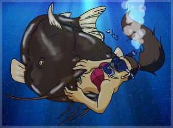Original Work - Catfish vores Snorkling Girl by kalahee