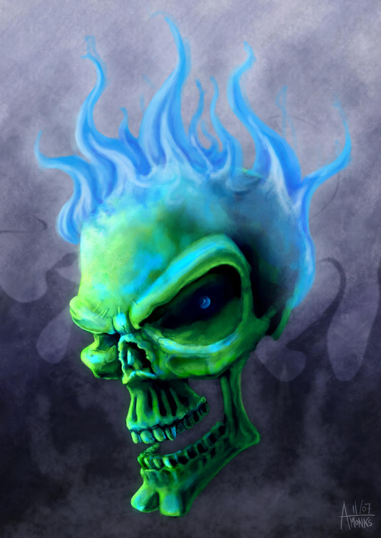 Blue Flame Skull by trickmonkeyart on DeviantArt