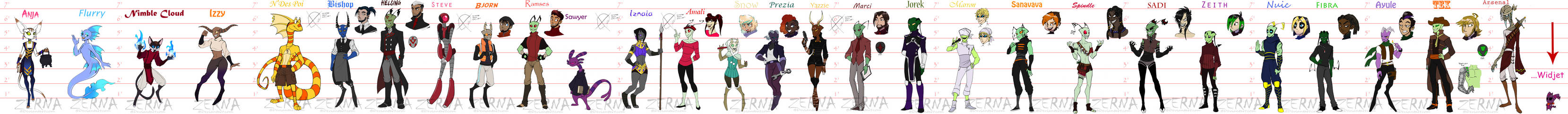 GIANT LINEUP OF OC REFERENCES