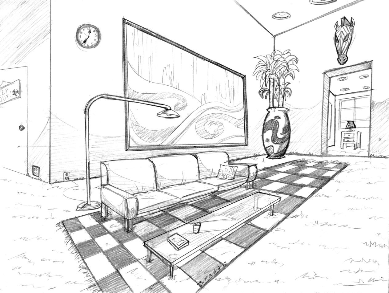 Attempt at perspective by zerna on deviantart for Living room 2 point perspective