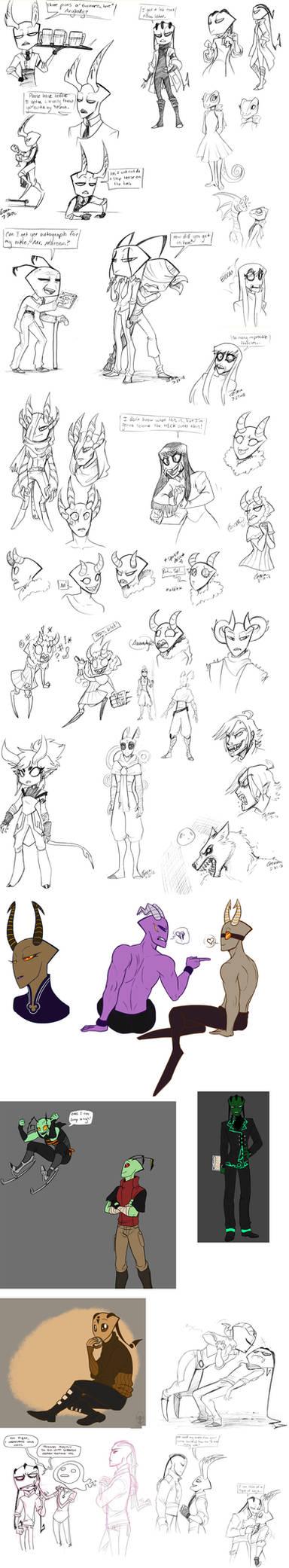 Sketchdump--Bartenders, Werewolves and Old People