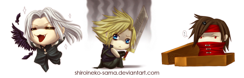 FF7: Happy, Emo and Blank by ShiroiNeko-sama