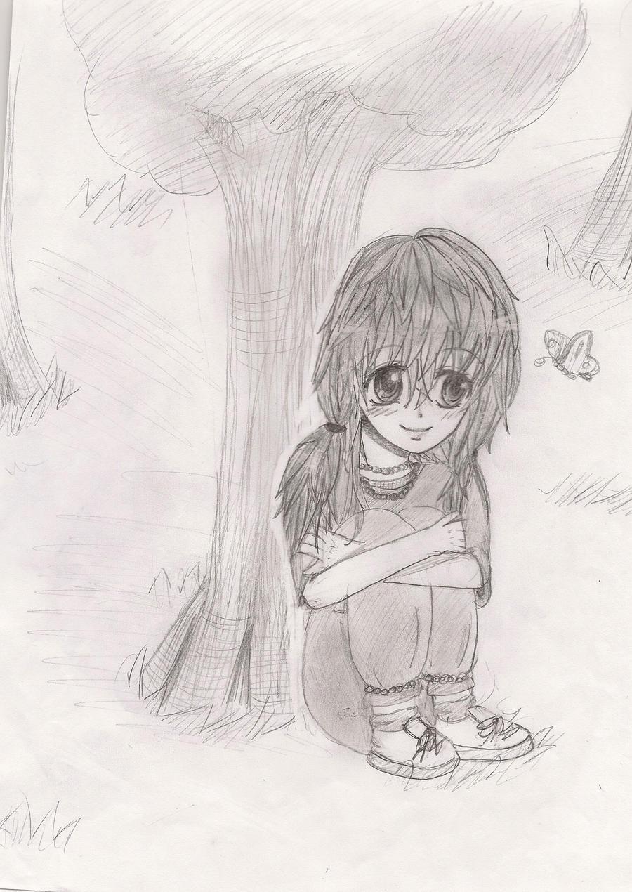 anime/manga girl sitting under a tree by 00MAT00 on DeviantArt