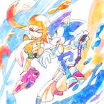 Inkling Girl and Sonic