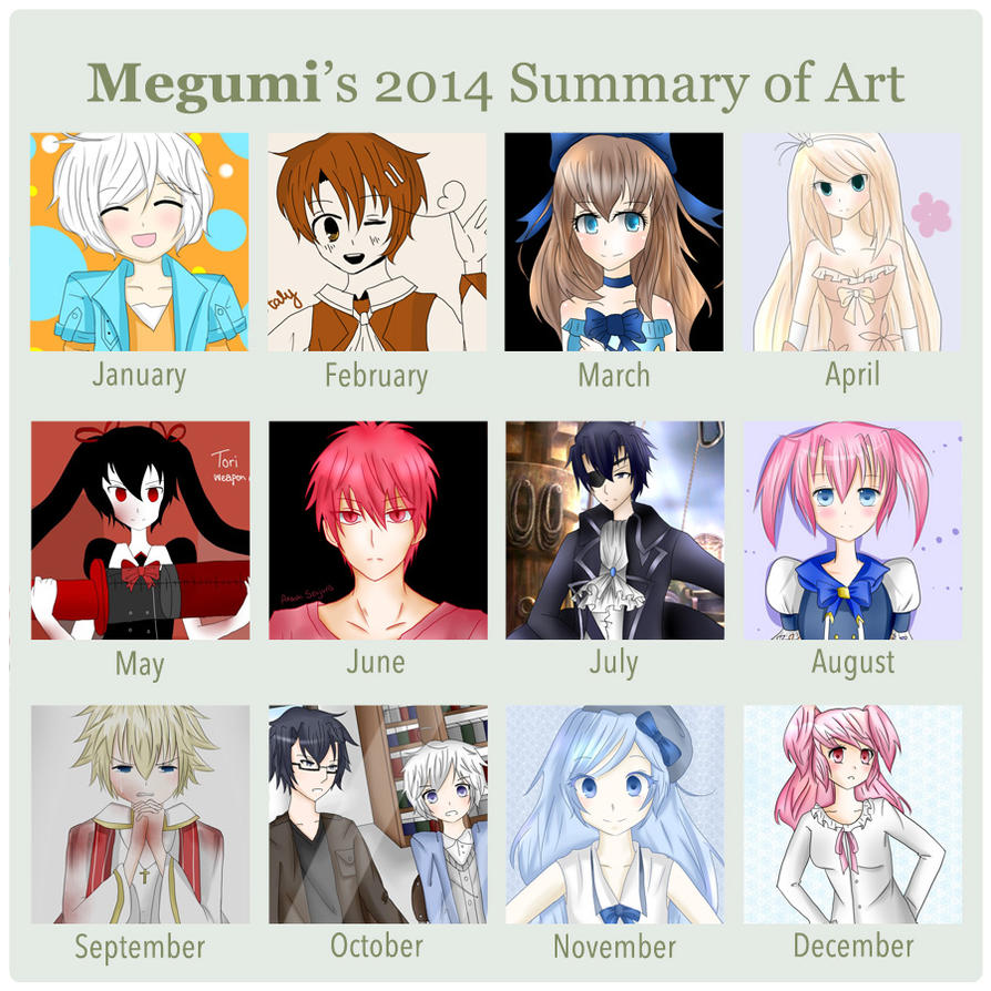 Megumi's 2014 summary of art by MegumiHeart