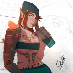 warcraft girl with magical mech arm - needs a name