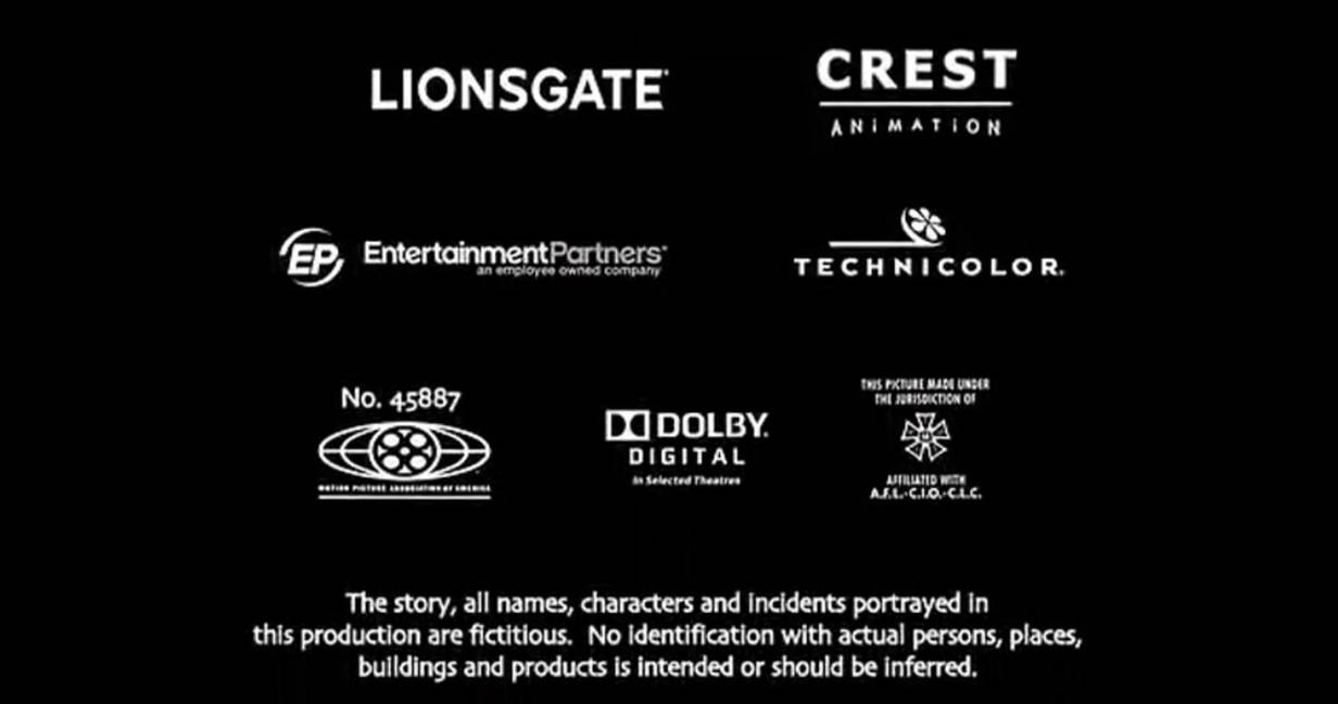 Prints By Deluxe Credits: Lionsgate/CA/EP/Technicolor/MPAA/Dolby/IATSE Logos By
