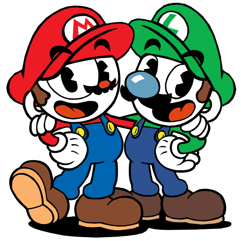 cuphead and mugman  mario and luigi  by twin gamer on red devil mascot costumes red devil mascot sayings