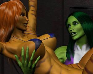 Tigra and She-hulk by night 28
