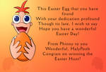 Prize:  HalyPooh's Easter card, Phineas!