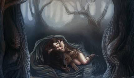 [Gift] Jeune elfe avec son loup by Le-Garaehld