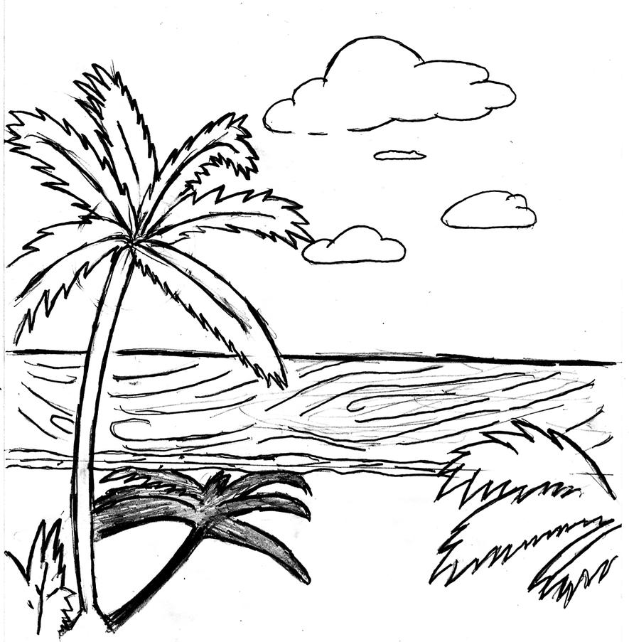 The Gallery For Gt Beach Scene Black And White Cartoon