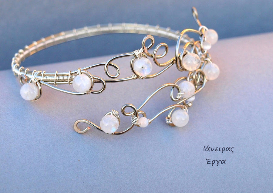 bridal moonstone beaded wire arm bracelet by