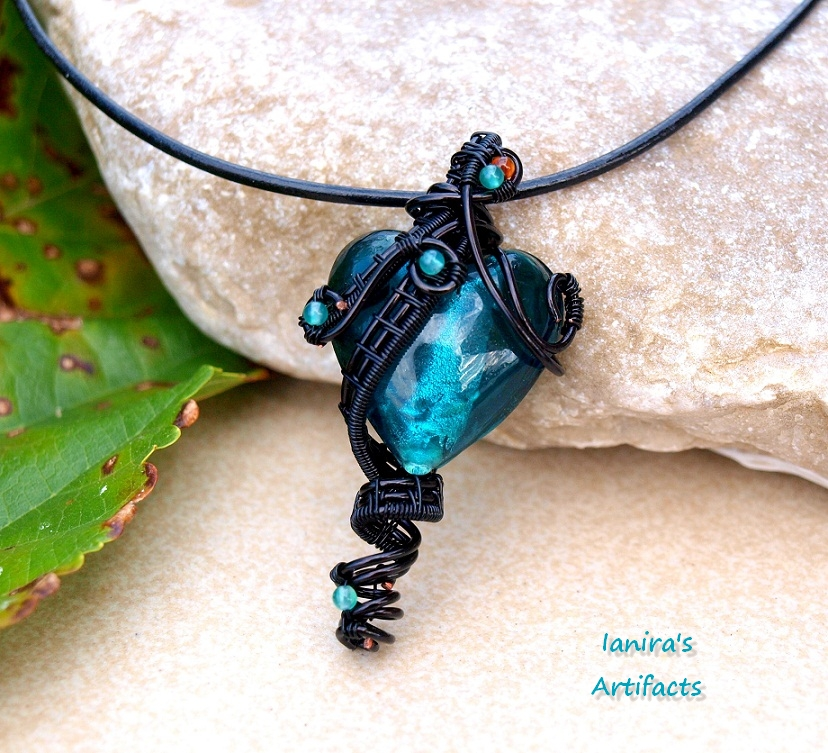 Turquoise Wire Wrapped Glass Heart Pendant By