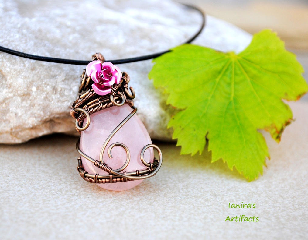 Rose Quartz wire wrapped pendant by IanirasArtifacts