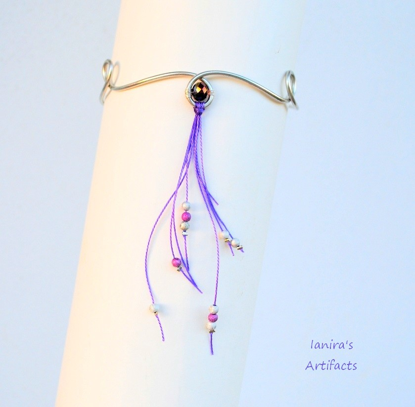 Boho wire upper arm bracelet with purple cords by IanirasArtifacts