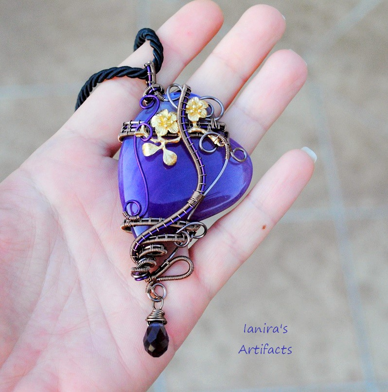 Purple agate heart wire wrapped pendant by ianirasartifacts on purple agate heart wire wrapped pendant by ianirasartifacts mozeypictures Gallery