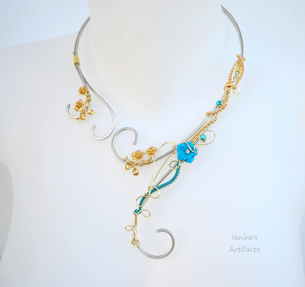Wire wrapped necklace with turquoise flower by IanirasArtifacts