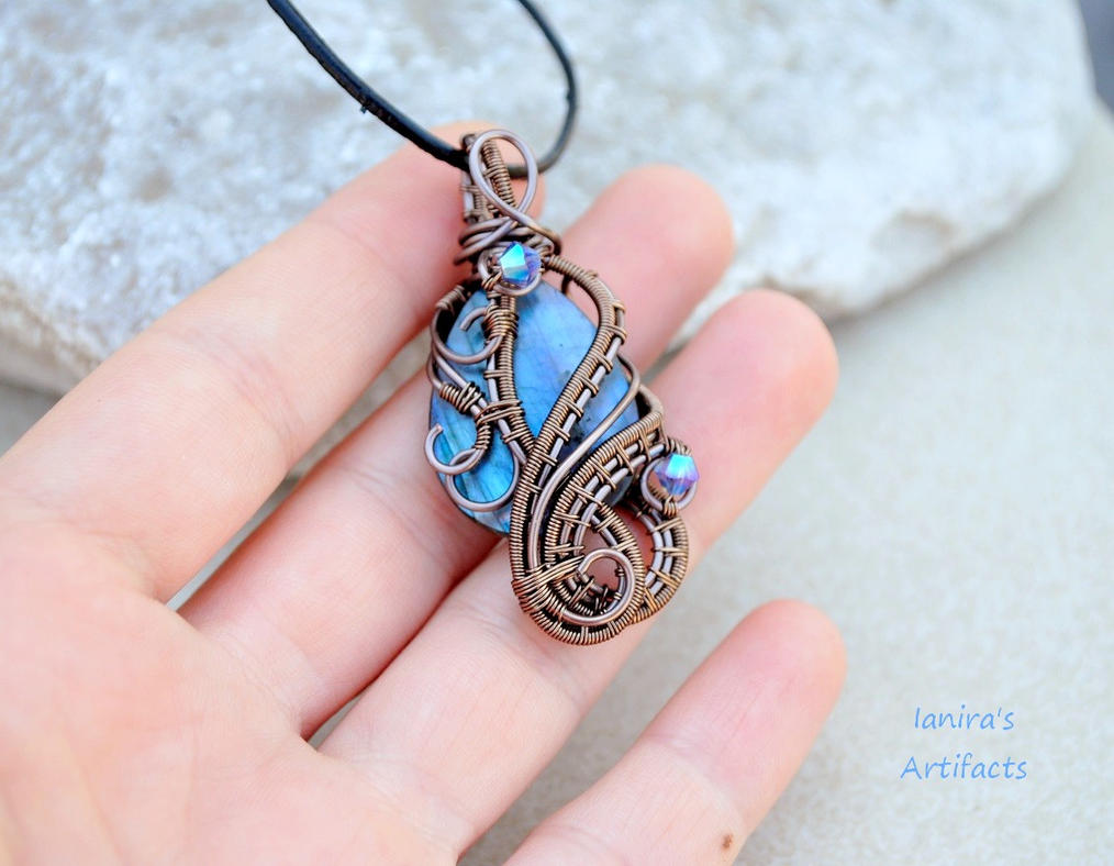 Wire Wrapped Jewelry : Labradorite wire wrapped pendant by ianirasartifacts on