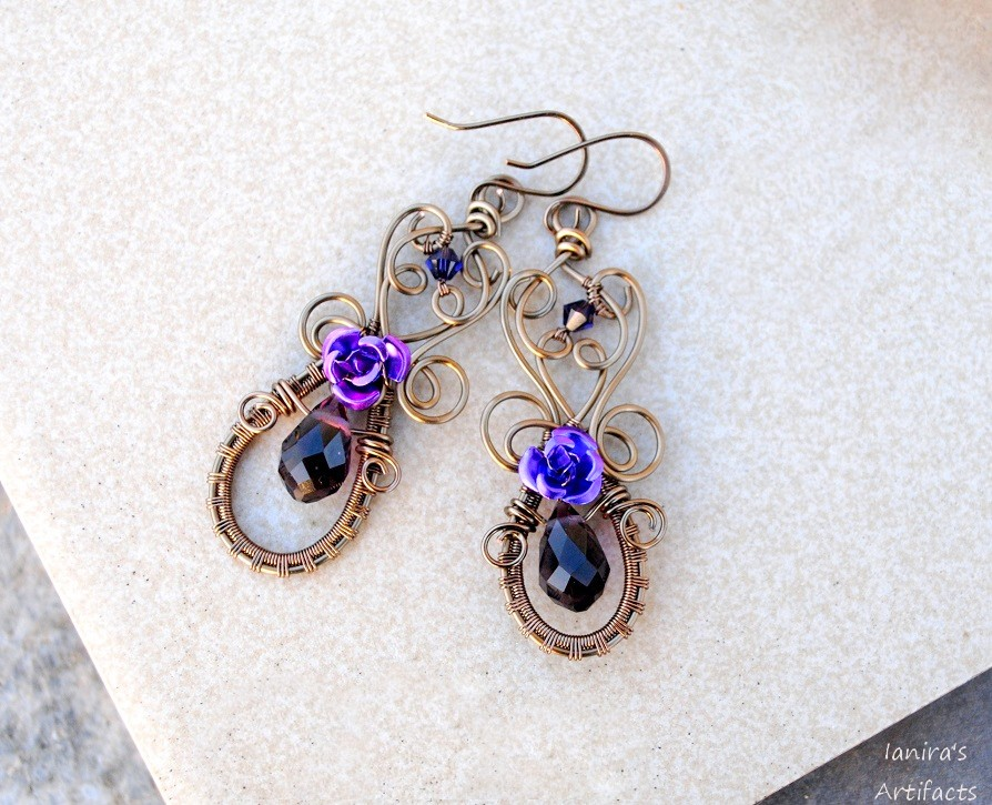 Neo victorian wire wrapped earrings by IanirasArtifacts