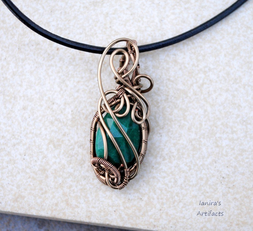 wire on green pendant wrapped wired by fairy art emerald ianirasartifacts necklace