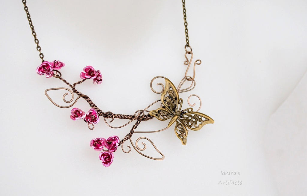 Rose wire necklace with butterfly by IanirasArtifacts on DeviantArt