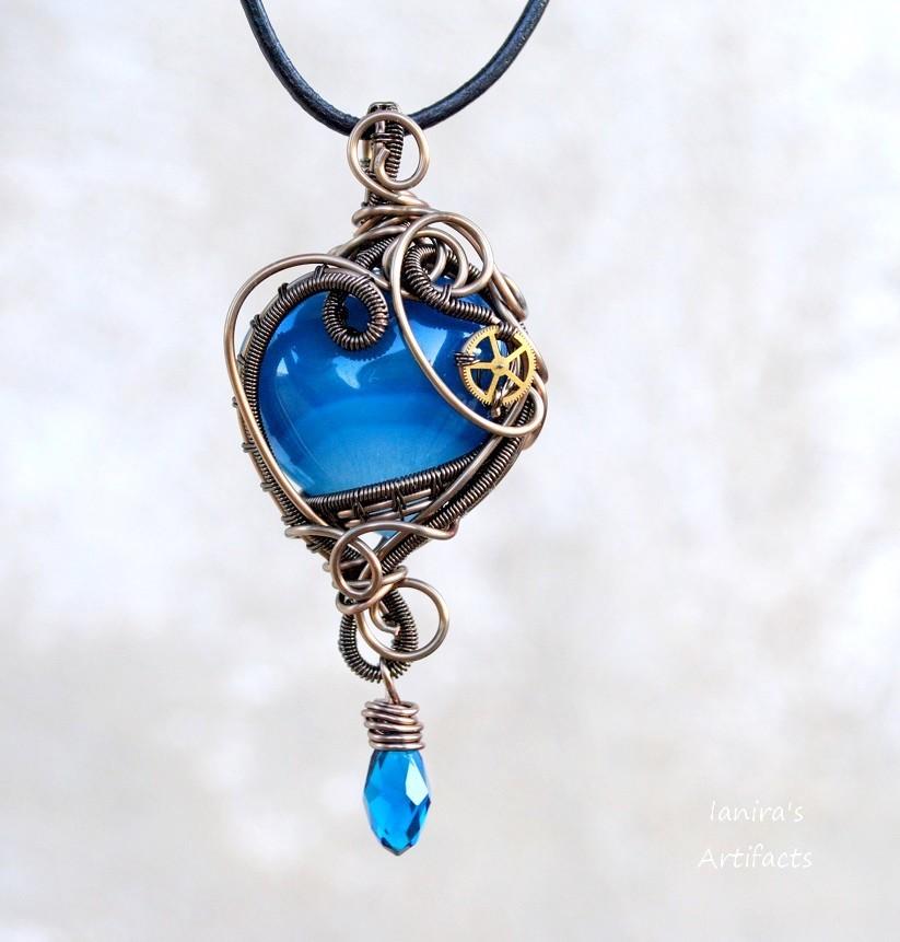 Steampunk blue heart pendant by ianirasartifacts on deviantart steampunk blue heart pendant by ianirasartifacts aloadofball Gallery