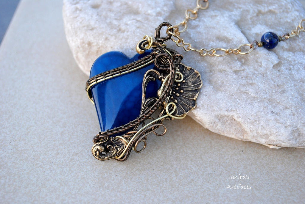 Art Nouveau blue agate heart wire wrapped pendant by IanirasArtifacts
