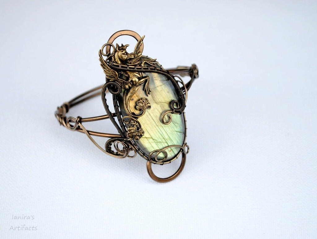 Labradorite wire wrapped cuff with winged horse by IanirasArtifacts