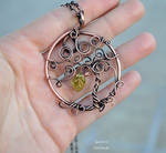 Life tree copper wire pendant