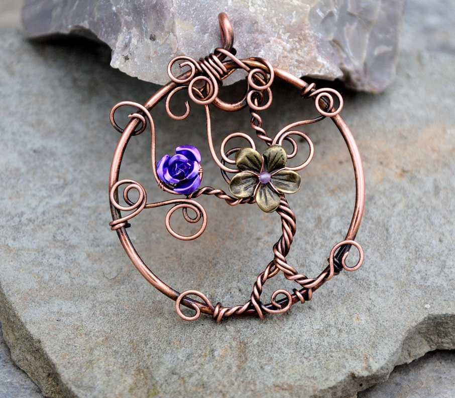 Tree of life copper wire pendant by ianirasartifacts on for How to make a wire tree of life sculpture