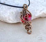 Red crystal heart wire wrapped pendant