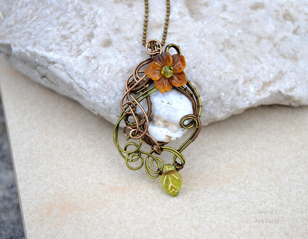Ocean Jasper with Tiger eye wire wrapped pendant by IanirasArtifacts ...