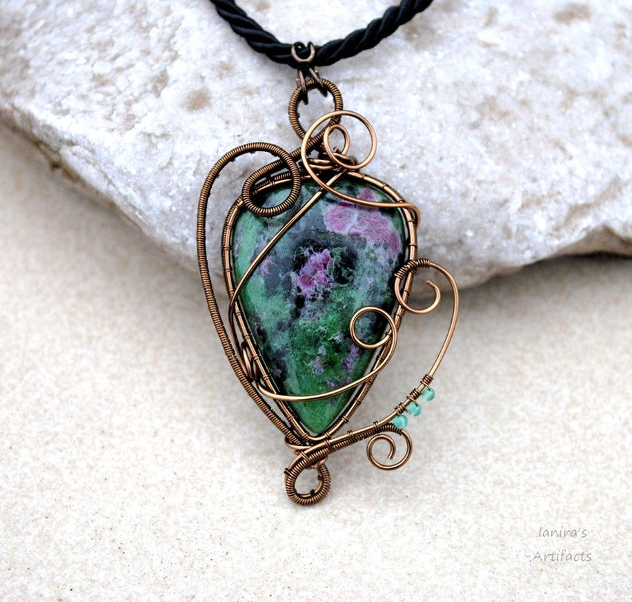 Ruby Zoisite wire wrapped pendant by IanirasArtifacts