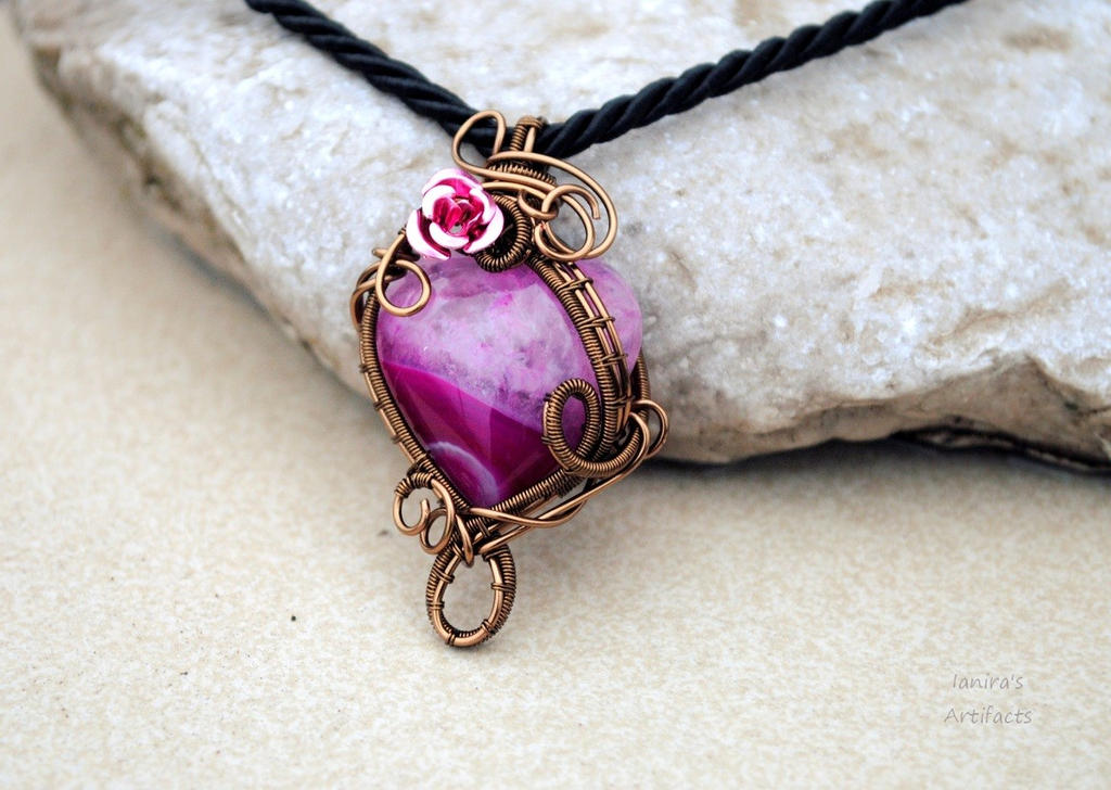Fuchsia heart shaped Agate wire wrapped pendant by IanirasArtifacts ...