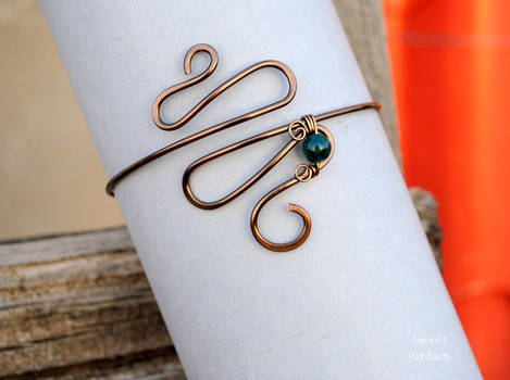 Enameled Copper wire Armband with Chrysocolla