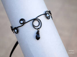 Black goth wire wrapped arm band