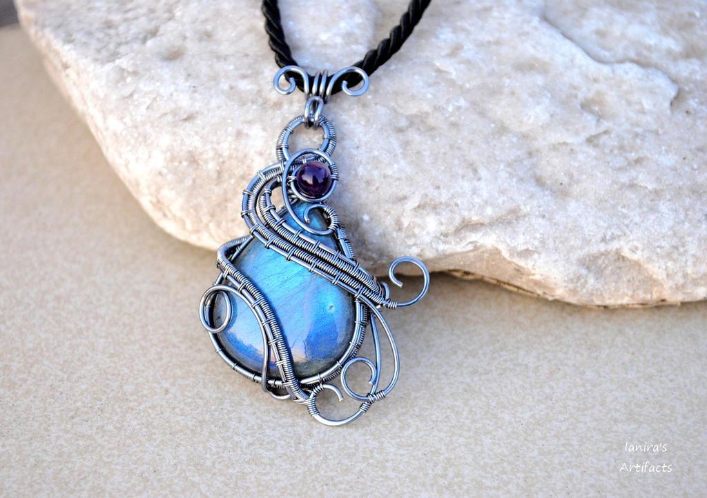 Labradorite wire wrapped drop pendant by IanirasArtifacts