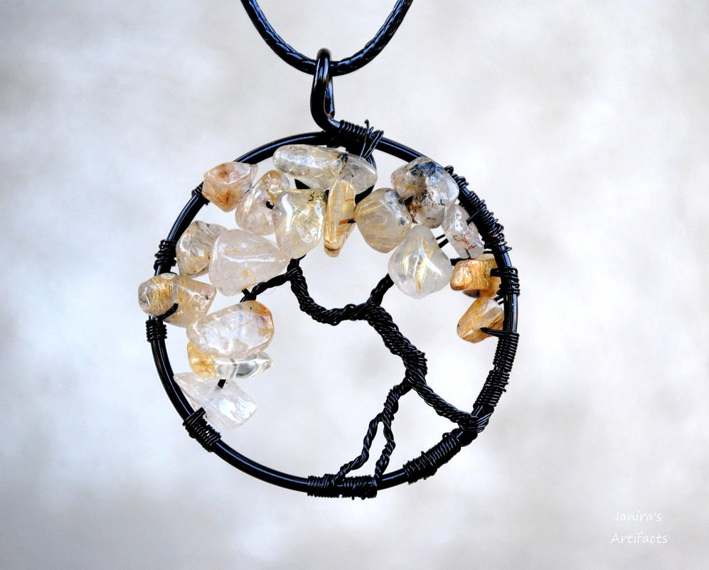 Tree of Life - Rutilated Quartz in black wire by IanirasArtifacts