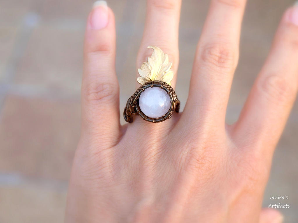 Rose Quartz wire wrapped adjustable ring with leaf by IanirasArtifacts