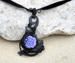 goth wire wrapped pendant with purple rose