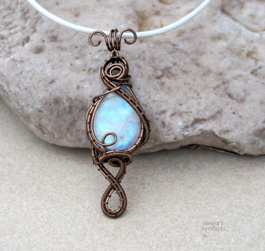 Super flashy moonstone wire wrapped pendant by IanirasArtifacts