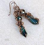 Emerald Green wire wrapped earrings