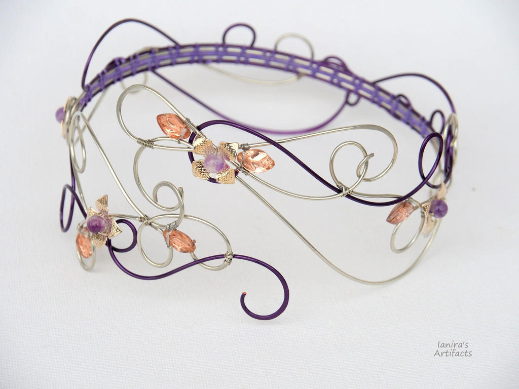 Purple wire wrapped arm cuff with amethyst flowers by ...
