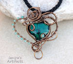 Emerald green heart wire wrapped pendant