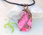 Rhodochrosite wire wrapped pendant