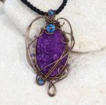 Purple druzy agate wire wrapped pendant